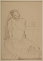 1988.1.16 front Portrait of a pregnant inmate by a German Jewish internee  Click to enlarge