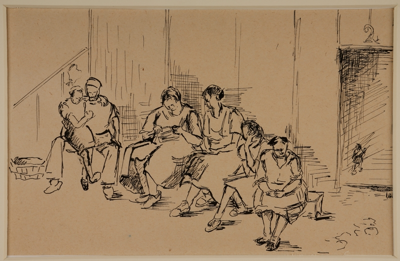 1988.1.17 front Drawing of people sitting on a bench by a German Jewish internee