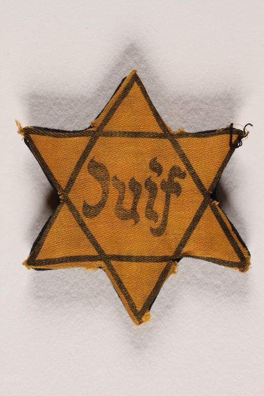 1993.25.1 front Star of David badge with Juif printed in the center