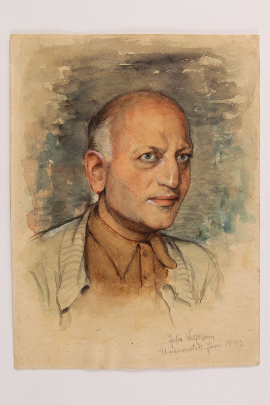 2014.509.1 front Watercolor portrait of a man created in Theresienstadt
