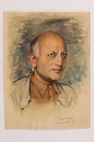 2014.509.1 front Watercolor portrait of a man created in Theresienstadt  Click to enlarge
