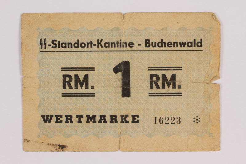 1993.34.8 front Buchenwald Standort-Kantine concentration camp scrip, 1 Reichsmark, issued to a Polish Jewish inmate