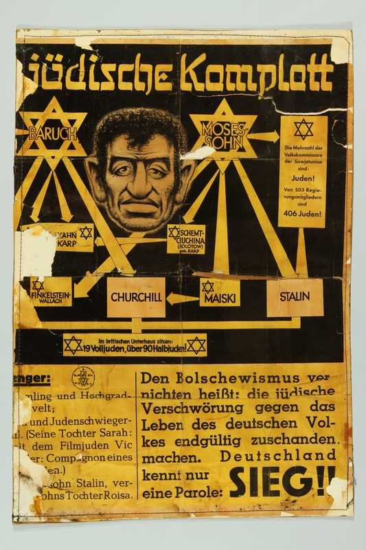 1993.35.1_b front Nazi propaganda poster exposing the Jewish conspiracy links to the Allied Nations
