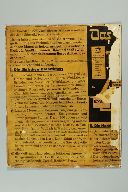 1993.35.1_a front Nazi propaganda poster exposing the Jewish conspiracy links to the Allied Nations