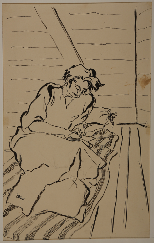 1988.1.18 front Drawing of woman reading a book on a mattress (Version II) by a German Jewish internee