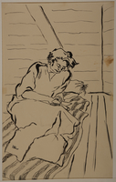 1988.1.18 front Drawing of woman reading a book on a mattress (Version II) by a German Jewish internee  Click to enlarge