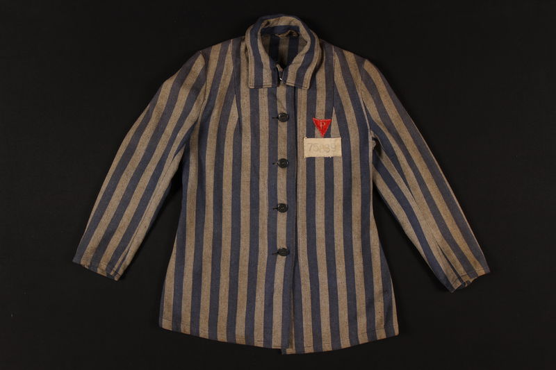 1993.37.1 front Concentration camp inmate uniform jacket