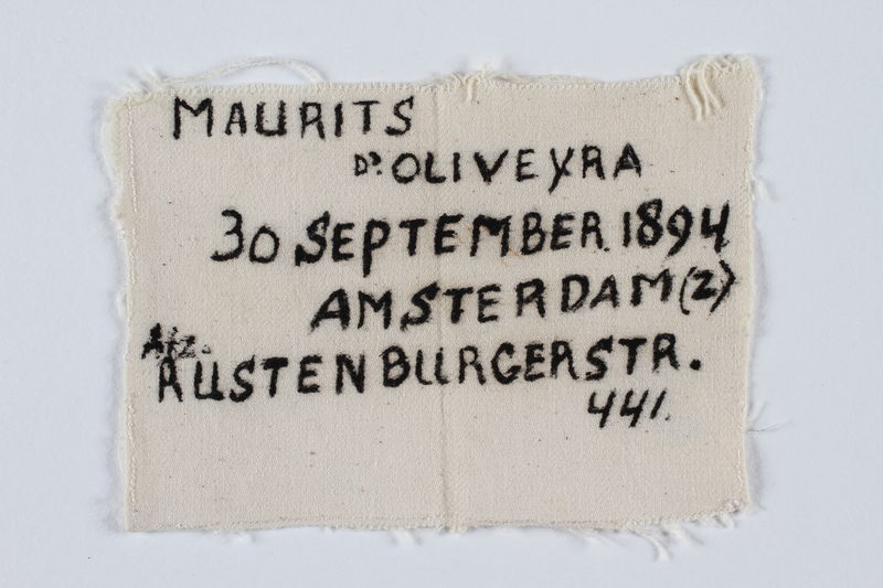 1993.4.12 front Armband with a handwritten inscripton by the original Dutch owner