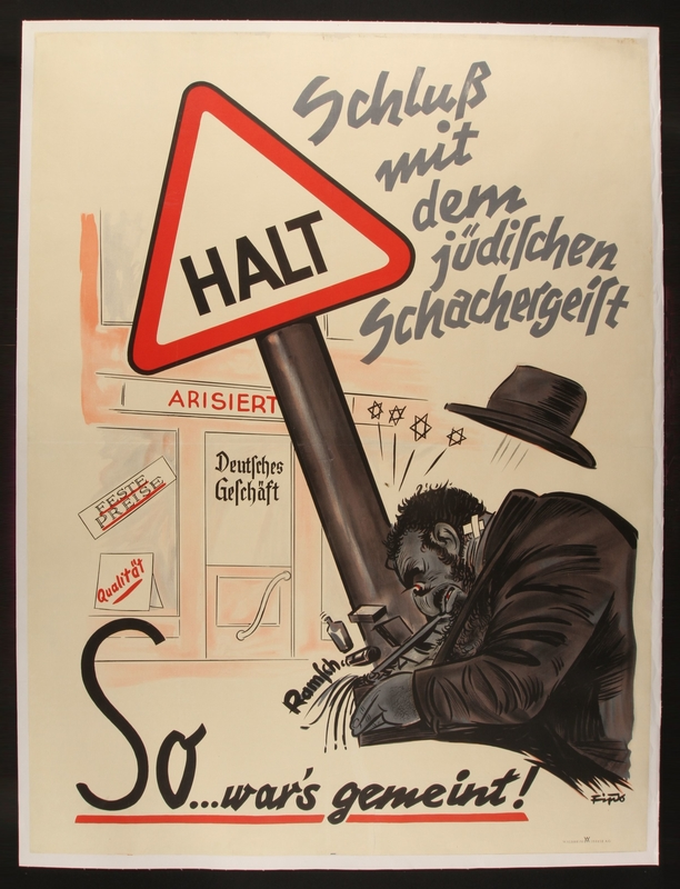1993.42.1 front Antisemitic poster by Fips depicting a Jew banging his head in response to Nazi German business