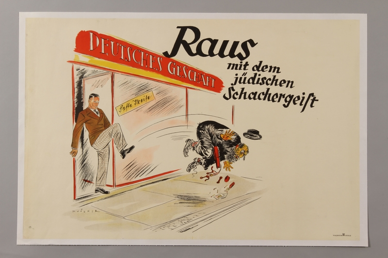 1993.42.3 front Antisemitic poster by Mjölnir depicting a German store owner kicking out a Jewish trader
