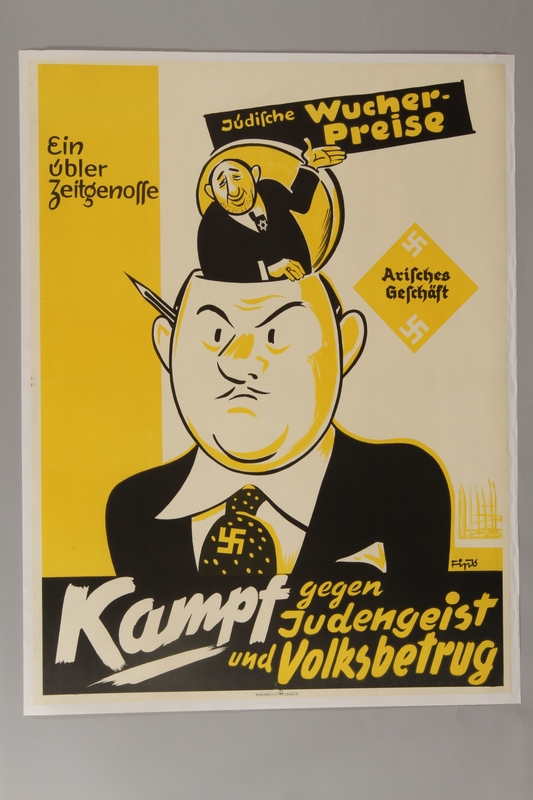 1993.42.4 front Antisemitic poster by Fips urging Germans to fight Jewish overpricing