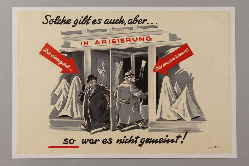 1993.42.5 front Antisemitic poster by Fips depicting a German shop being cheated by Jewish businessmen