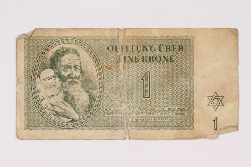 1993.46.1 front Theresienstadt ghetto-labor camp scrip, 1 krone note