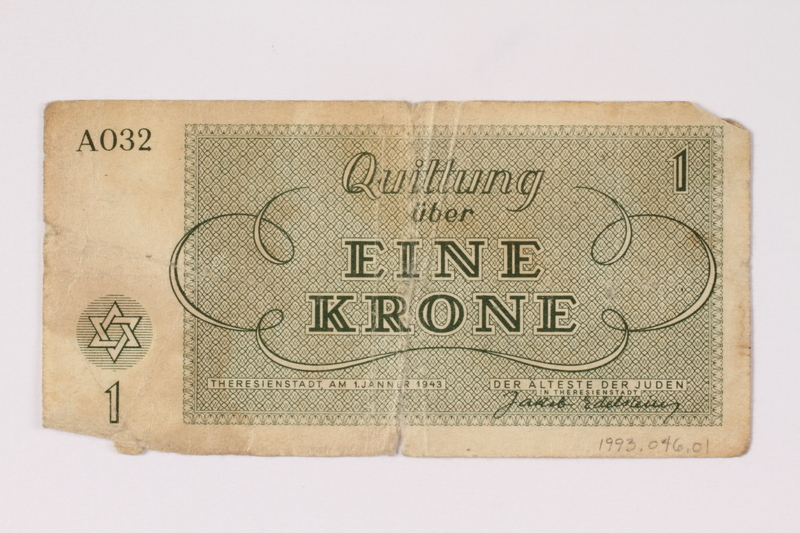 1993.46.1 back Theresienstadt ghetto-labor camp scrip, 1 krone note