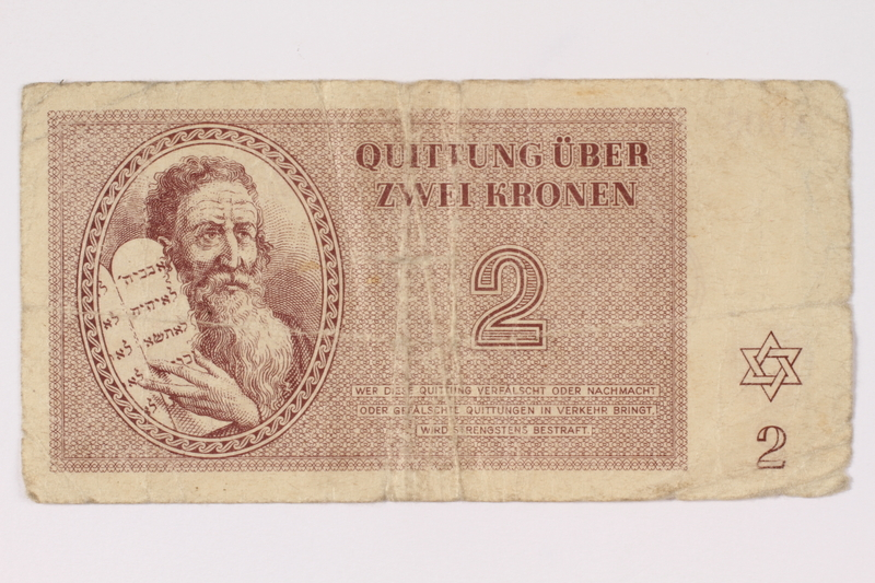 1993.46.2 front Theresienstadt ghetto-labor camp scrip, 2 kronen note