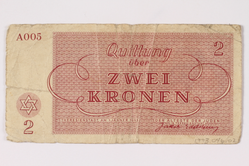 1993.46.2 back Theresienstadt ghetto-labor camp scrip, 2 kronen note