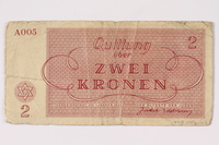 1993.46.2 back Theresienstadt ghetto-labor camp scrip, 2 kronen note  Click to enlarge