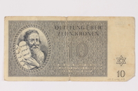 1993.46.3 front Theresienstadt ghetto-labor camp scrip, 10 kronen note  Click to enlarge