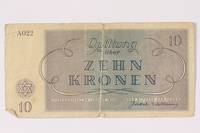 1993.46.3 back Theresienstadt ghetto-labor camp scrip, 10 kronen note  Click to enlarge
