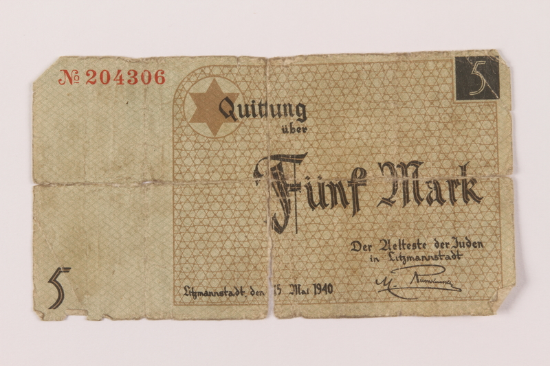 1993.48.1 front Łódź ghetto scrip, 5 mark note