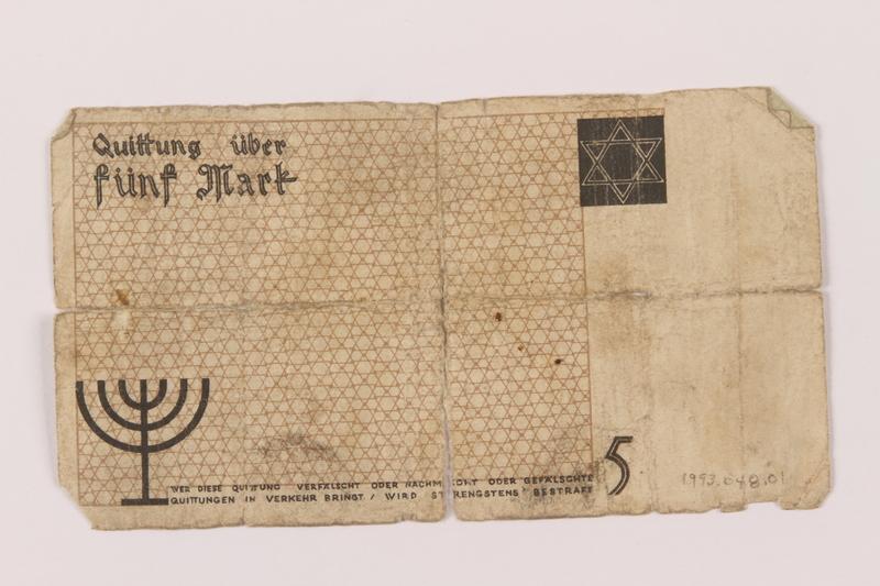 1993.48.1 bacik Łódź ghetto scrip, 5 mark note