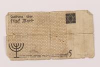 1993.48.1 bacik Łódź ghetto scrip, 5 mark note  Click to enlarge