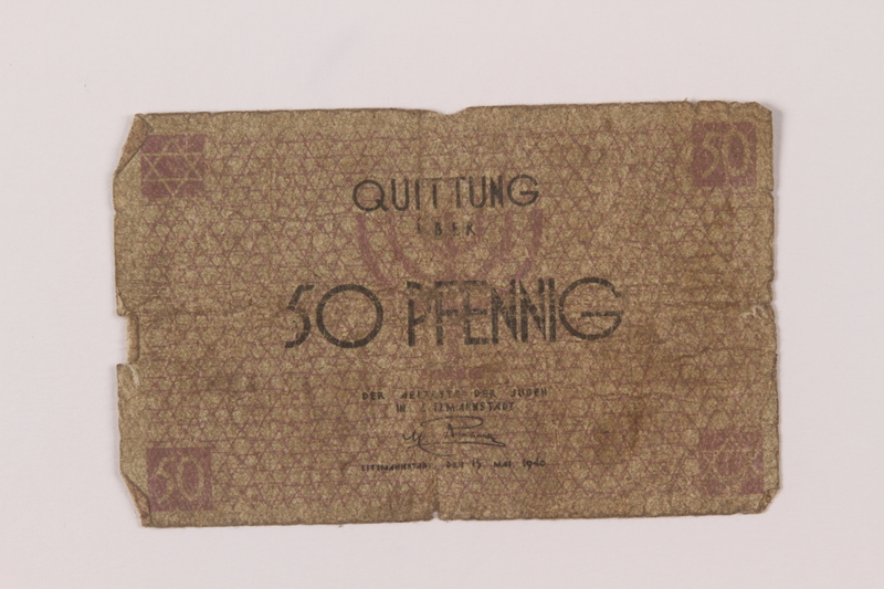 1993.50.1 front Łódź (Litzmannstadt) ghetto scrip, 50 pfennig note