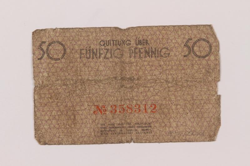 1993.50.1 back Łódź (Litzmannstadt) ghetto scrip, 50 pfennig note