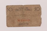 1993.50.1 back Łódź (Litzmannstadt) ghetto scrip, 50 pfennig note  Click to enlarge