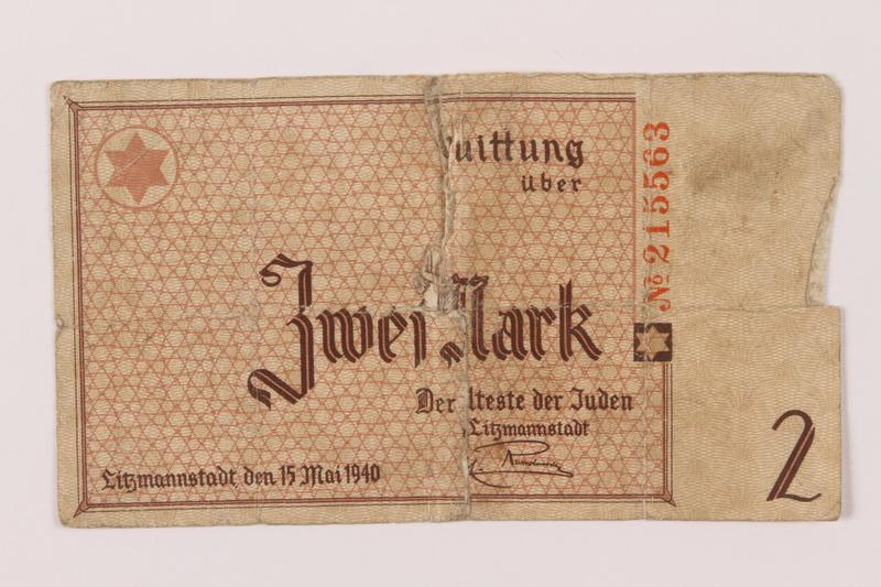 1993.50.10 front Łódź (Litzmannstadt) ghetto scrip, 2 mark note