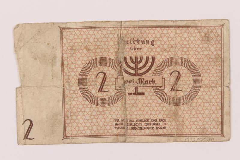 1993.50.10 back Łódź (Litzmannstadt) ghetto scrip, 2 mark note
