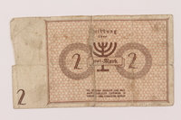 1993.50.10 back Łódź (Litzmannstadt) ghetto scrip, 2 mark note  Click to enlarge