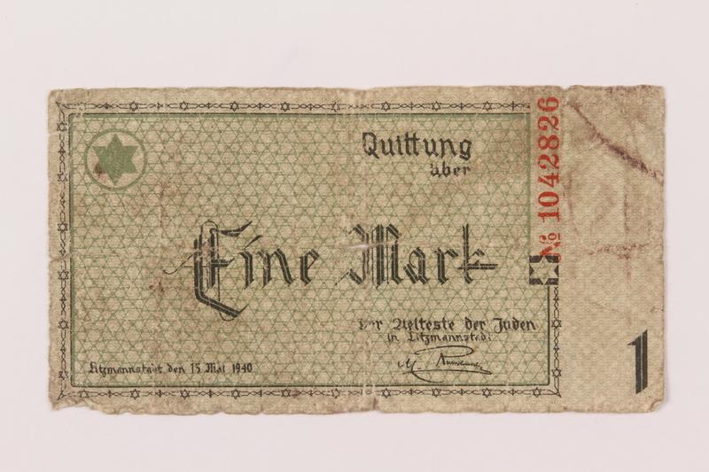 1993.50.11 front Łódź (Litzmannstadt) ghetto scrip, 1 mark note