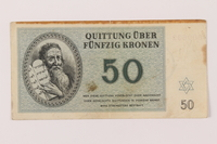 1993.50.12 front Theresienstadt ghetto-labor camp scrip, 50 kronen note, acquired by Czech refugee  Click to enlarge