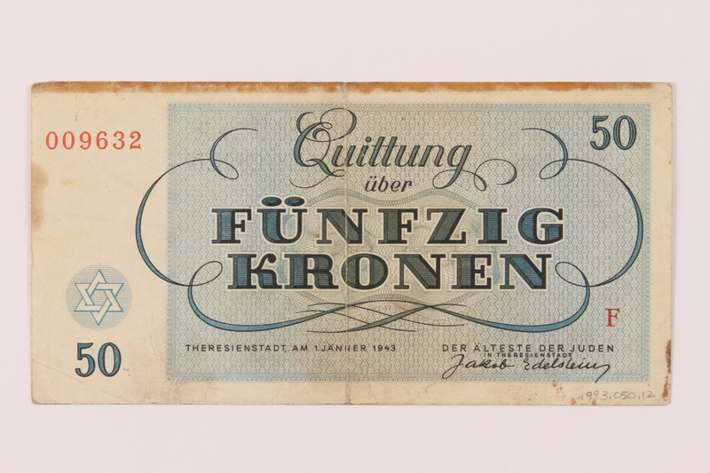 1993.50.12 back Theresienstadt ghetto-labor camp scrip, 50 kronen note, acquired by Czech refugee