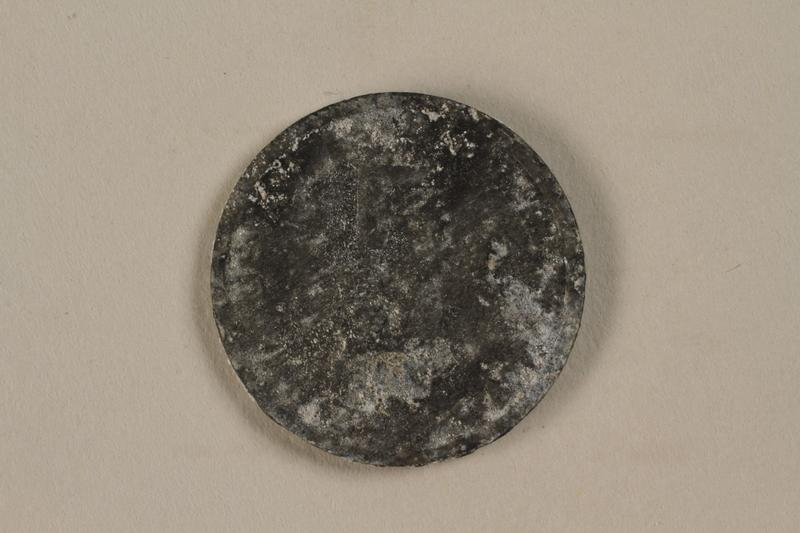 1993.50.4 back Łódź (Litzmannstadt) ghetto scrip, 5 mark coin