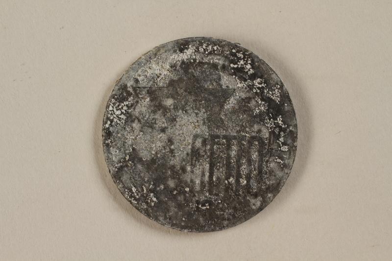 1993.50.5 front Łódź (Litzmannstadt) ghetto scrip, 10 mark coin