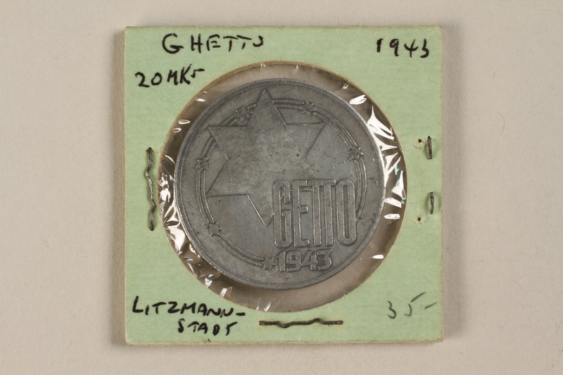 1993.50.6 front Łódź (Litzmannstadt) ghetto scrip, 20 mark coin