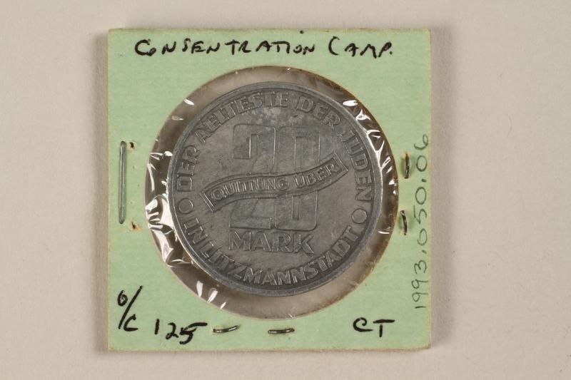 1993.50.6 back Łódź (Litzmannstadt) ghetto scrip, 20 mark coin