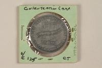 1993.50.6 back Łódź (Litzmannstadt) ghetto scrip, 20 mark coin  Click to enlarge