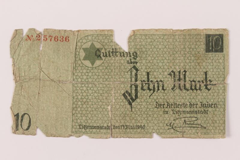 1993.50.8 front Łódź (Litzmannstadt) ghetto scrip, 10 mark note
