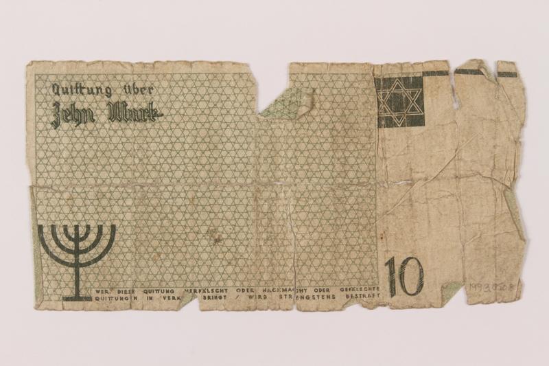 1993.50.8 back Łódź (Litzmannstadt) ghetto scrip, 10 mark note