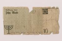 1993.50.8 back Łódź (Litzmannstadt) ghetto scrip, 10 mark note  Click to enlarge