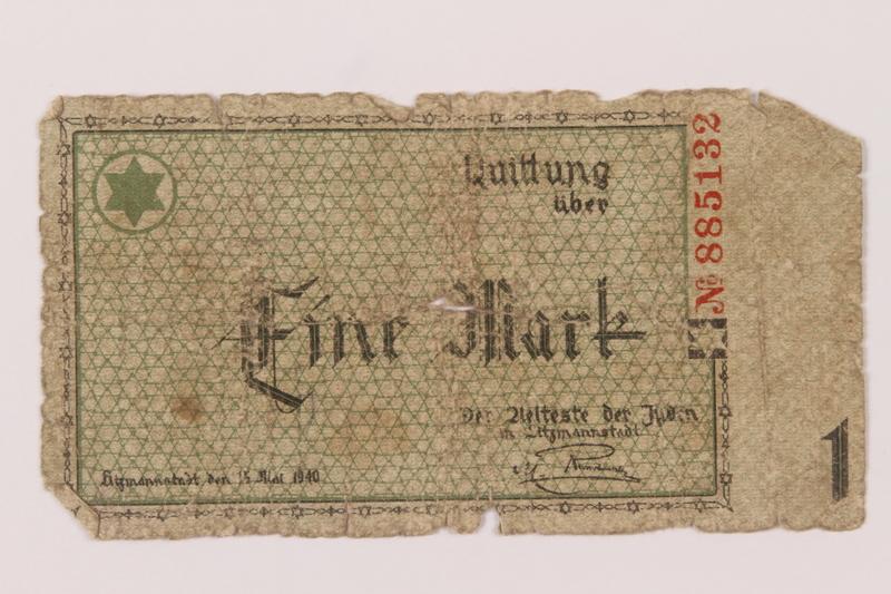 1993.50.9 front Łódź (Litzmannstadt) ghetto scrip, 1 mark note