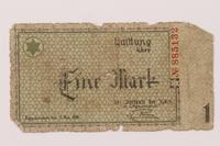1993.50.9 front Łódź (Litzmannstadt) ghetto scrip, 1 mark note  Click to enlarge