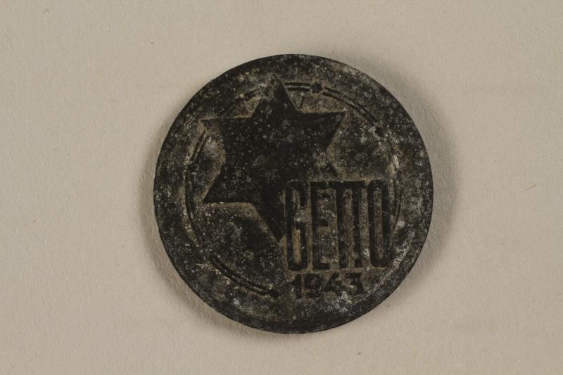 1993.53.1 front Łódź (Litzmannstadt) ghetto scrip, 5 mark coin