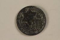 1993.53.1 front Łódź (Litzmannstadt) ghetto scrip, 5 mark coin  Click to enlarge