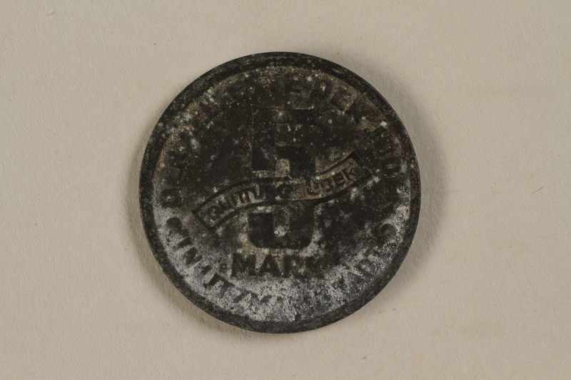 1993.53.1 back Łódź (Litzmannstadt) ghetto scrip, 5 mark coin