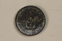 1993.53.1 back Łódź (Litzmannstadt) ghetto scrip, 5 mark coin  Click to enlarge