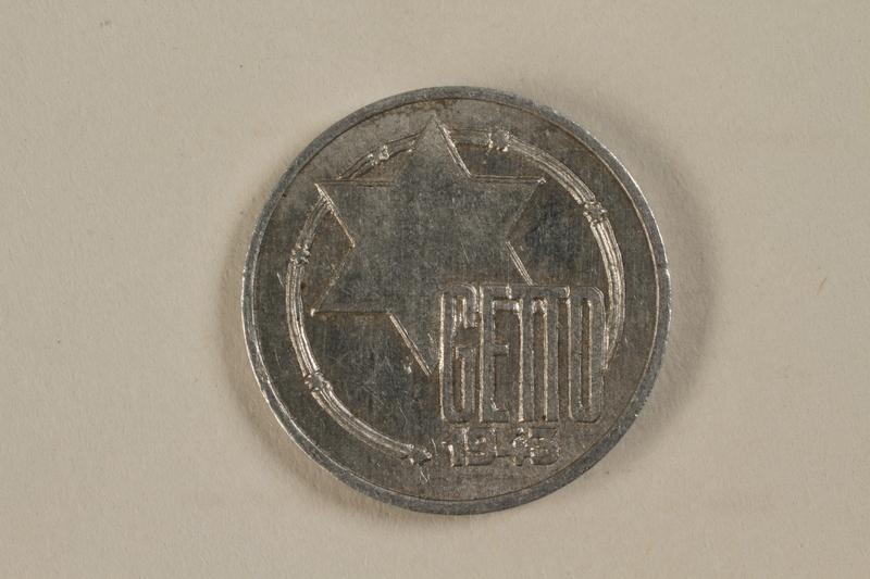 1993.53.2 front Łódź (Litzmannstadt) ghetto scrip, 5 mark coin